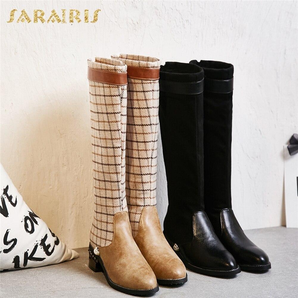 611138e94e2a0 Chaussures Dropship Hauteur 32 Plaid Du 43 Grande D hiver Genou De Femme  Femmes marron Bottes Mode Taille ...