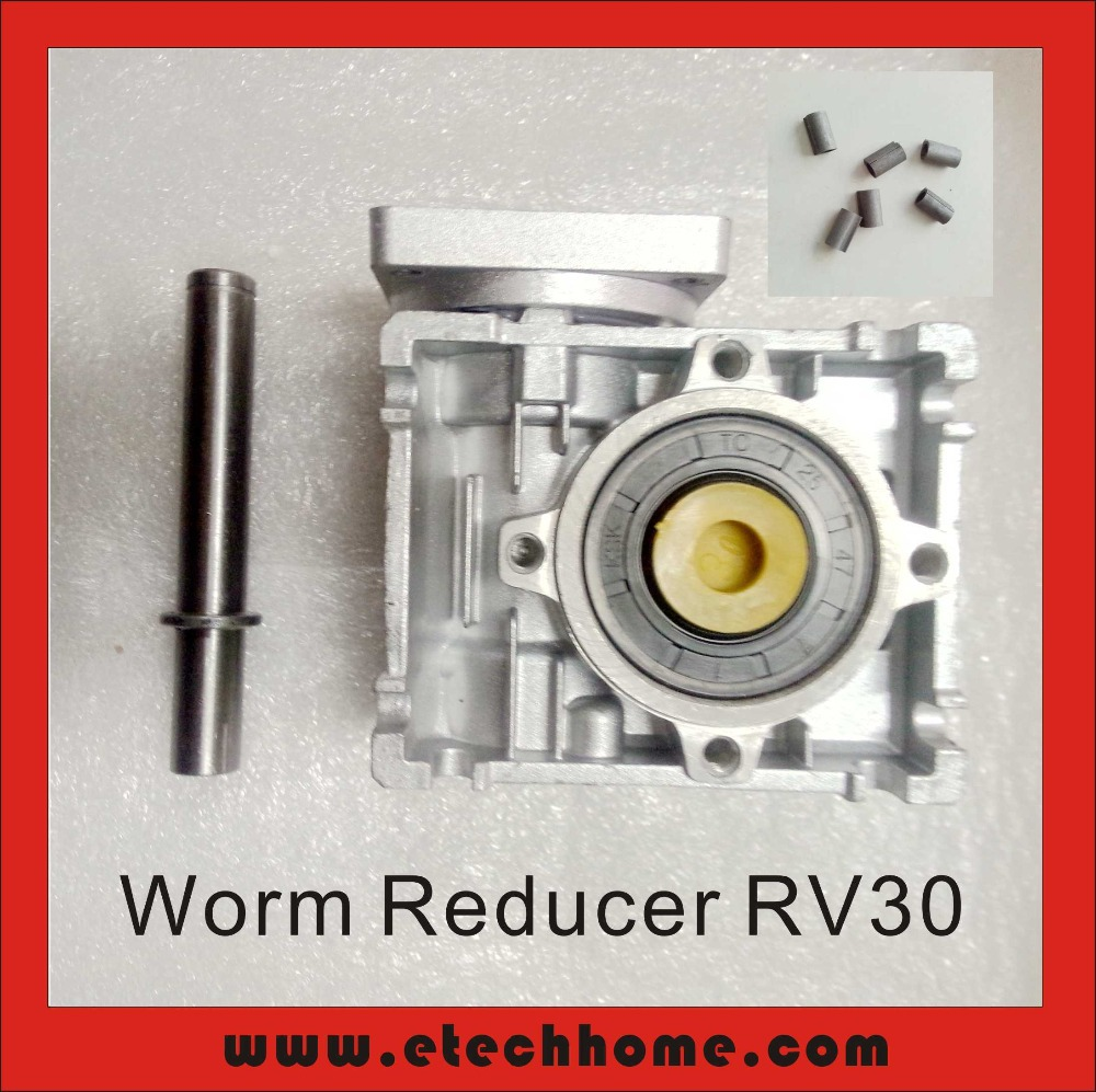 5:1 to 80:1 RV30 Worm Speed Reducer With Single Output Shaft and Shaft Adaptor for 8mm input shaft of Nema 23 Stepper Motor5:1 to 80:1 RV30 Worm Speed Reducer With Single Output Shaft and Shaft Adaptor for 8mm input shaft of Nema 23 Stepper Motor