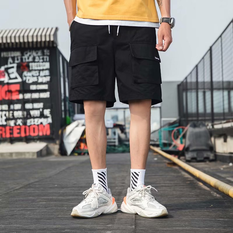 Fashion Men's Shorts Summer Solid Overalls Cool Sports Pocket Male Soft Loose Outdoor Streetwear
