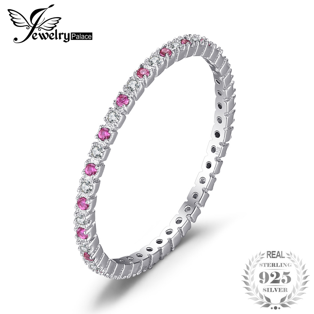 JewelryPalace Exquisite Round Created Ruby Wedding Band Ring For Women Pure 925 Sterling Silver Fine Jewelry Party AccessoriesJewelryPalace Exquisite Round Created Ruby Wedding Band Ring For Women Pure 925 Sterling Silver Fine Jewelry Party Accessories
