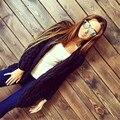 Mujeres abrigo de invierno 2016 Del Otoño y Del Invierno Larga chaqueta de Punto Suéteres de Las Mujeres Torcido Cardigan Abierto Stitch Mujer Suéteres outwear para las mujeres