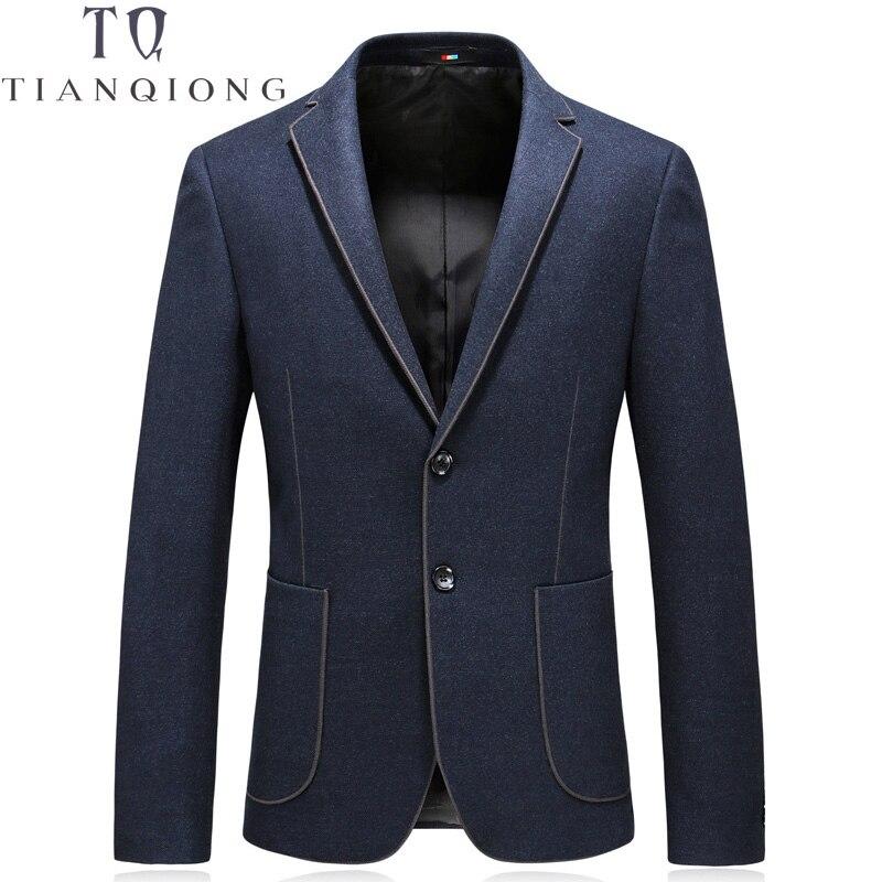 TIAN QIONG Men Blazer Suit Slim Fit Wool Jacket Casual Dark Blue Masculine Blazers Coat Single Breasted Two Bottons Men