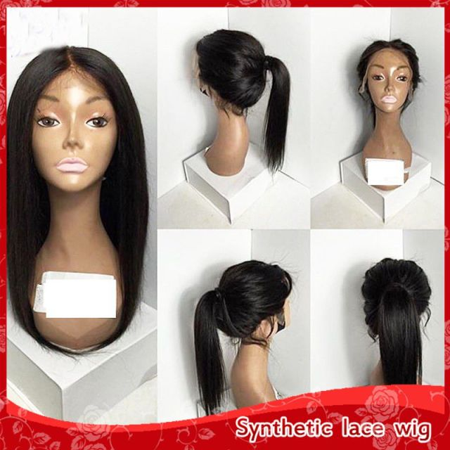 Free Shipping Cheap Silky Straight Hair Glueless Synthetic Lace Front Wigs With Baby Hair Heat Resistant Wigs For Black Women
