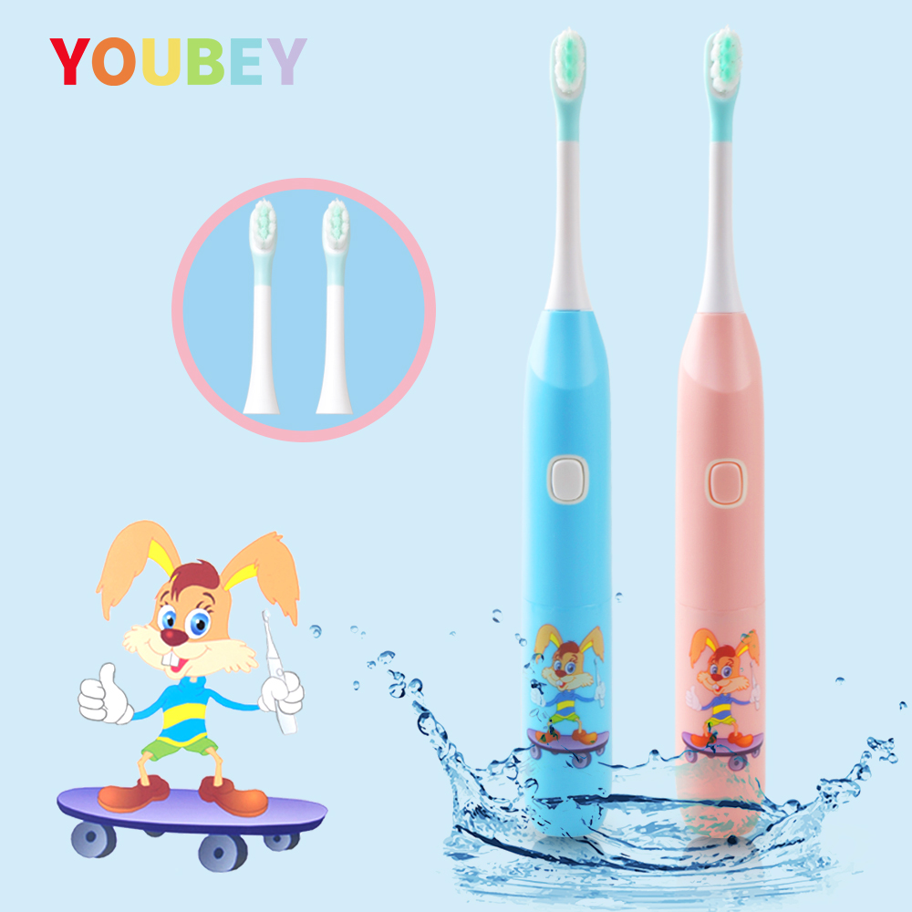 YOUBEY Children Electric Tooth Brush Kids Toothbrushes Baby Electric Massage Teeth Care Oral Teeth Brush With 2 pcs Heads image