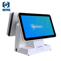 Hspos new dual 15inch display POS Cash Register HS 156D H2 Built in 58 thermal printer can use almost pos Software