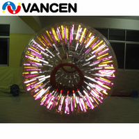 Attractive inflatable light zorbing ball customized logo bumper shinning outdoor toys inflatable human hamster ball for adult