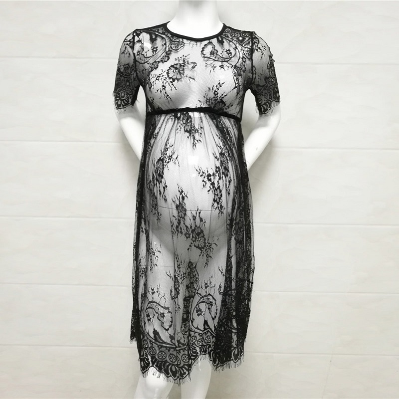 Black/White Maternity Dresses Summer Maternity Photography Props Sexy Lace Dress Elegant Fancy Women Pregnancy Photo Shooting