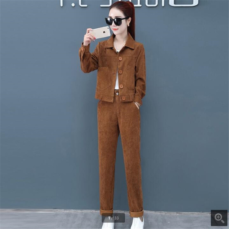 Tracksuit for women Youth clothing fashion Two-piece set autumn women's clothing sets NEW Corduroy Striped two piece set R900