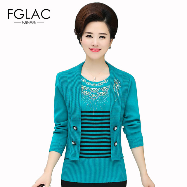 FGLAC Women sweaters New 2018 Spring Knitted Pullovers Elegant Slim Fake two-piece Mother clothes Middle-aged Sweaters
