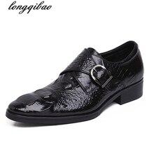 Brand 2017 new men's shoes, leather shoes men spring tide shoes men's dress shoes pointed buckle men's crocodile