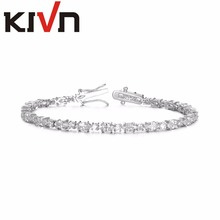 KIVN Fashion Jewelry Flower CZ Cubic Zirconia Women Girls Wedding Bridal Bracelets Christmas Mothers Promotion Birthday Gifts