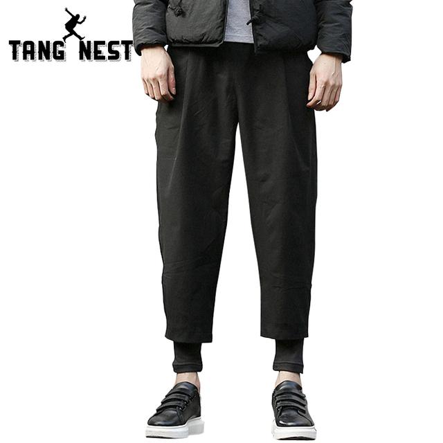 Invierno Gruesa 2017 Nueva Llegada Caliente de Moda Falso de Dos Piezas de Lápiz Pantalones Loose Soft Negro Mediados de cintura Alta Calidad pantalones MKY234