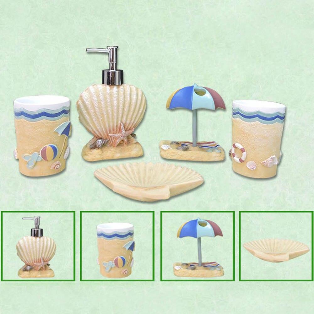Creative bord de mer style hawaïen salle de bain bouteille bain de bouche tasse porte-brosse à dents boîte à savon brosse à dents tasse salle de bain ensembles offre spéciale - 6