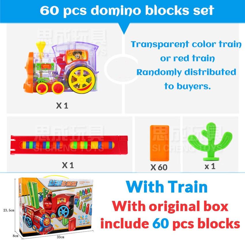 Автоматическая укладка домино кирпич Поезд Автомобиль набор звуковой светильник дети красочные пластиковые блоки домино игра игрушки набор подарок для девочек и мальчиков - Цвет: Train 60 blocks W