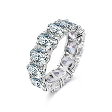 Big Promotion Oval Cut Fashion AAA Multi-Color CZ Silver Color Ring Size 6 7 8 Romantic Women Jewelry 925 Sterling Fine J
