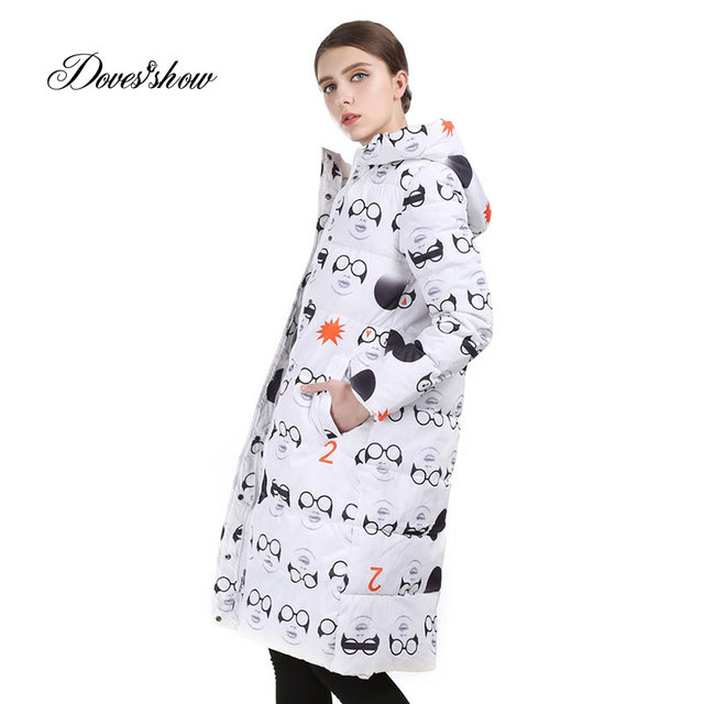 58b7d10e8f7 Long Women Winter Jacket Fashion Padded Coat Hooded Overcoat Parka Wadded  Military Casaco Feminino Female Jacket Glass Printing