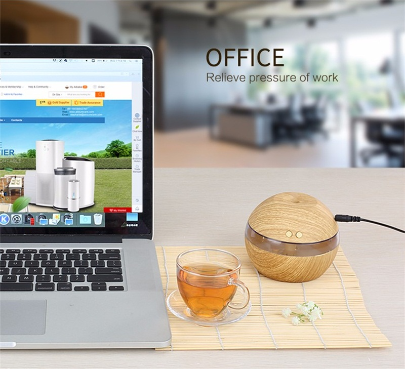 - 300Ml Mini Portable Wood Grain Air Humidifier