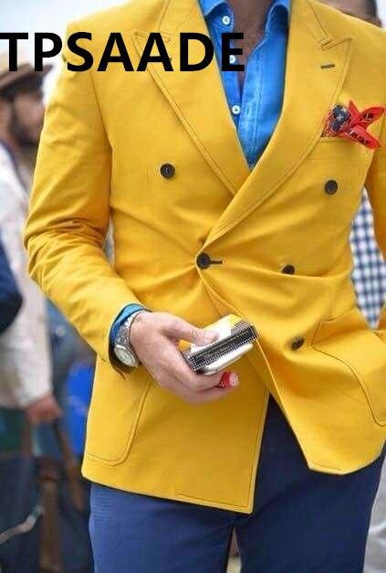 mantel + Hosen Zielstrebig Die Neueste Jacke Gelb Slim Fit Anzug Männer Custom Bräutigam Tanz Rauchen Zweireiher Anzug Jacke Ein Bereicherung Und Ein NäHrstoff FüR Die Leber Und Die Niere