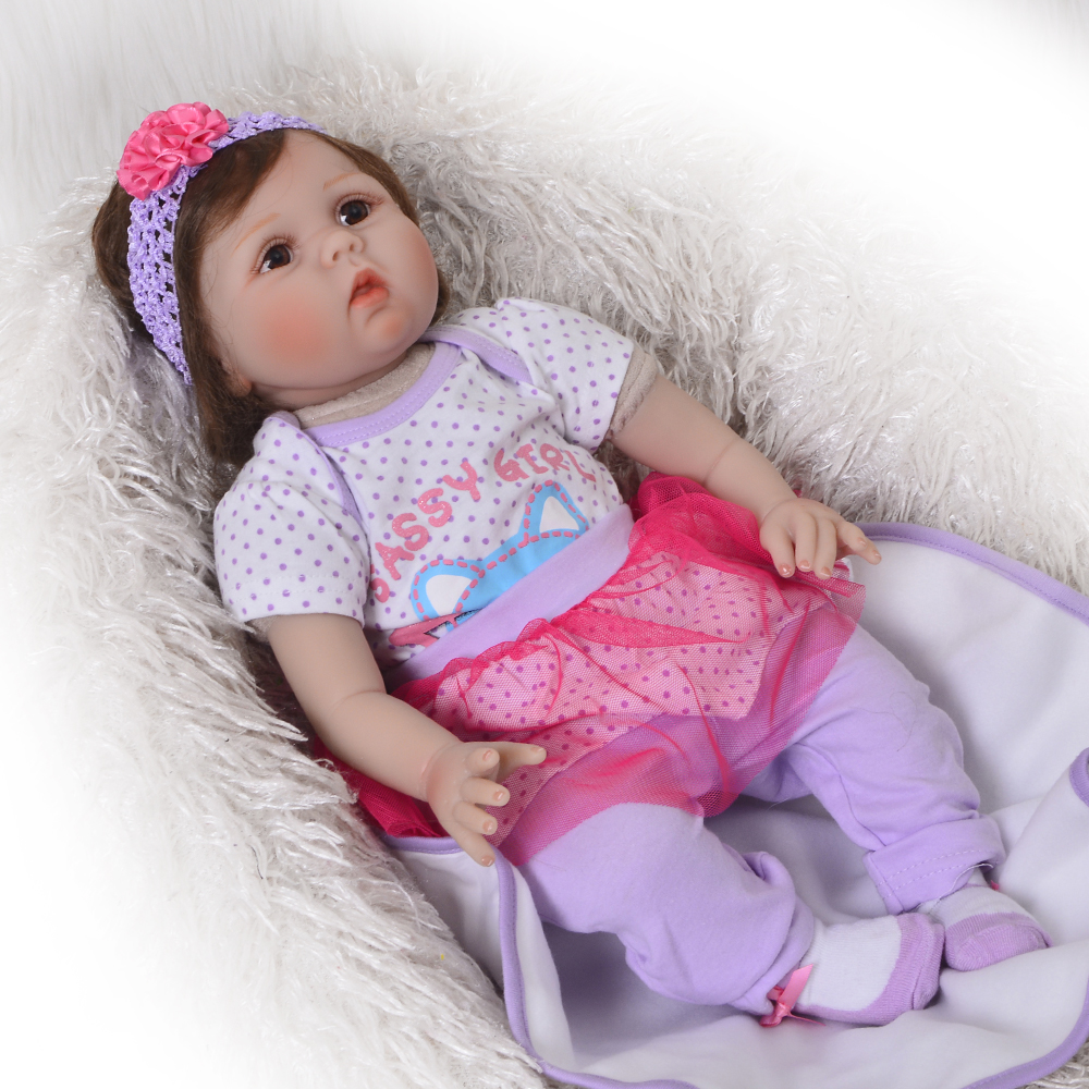 New Arrival Soft Silicone Reborn font b Baby b font 22 Inch Cloth Body Lifelike font