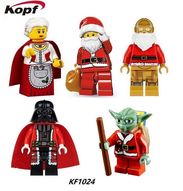 Super Heroes Star Wars Figures Yoda Santa Claus Christmas Granny Darth Vader C3PO Building Blocks Collection Toys KF1024 my granny