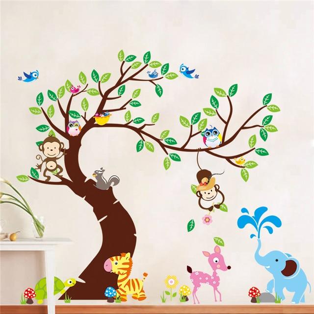 Arbre Et Singe Sticker Mural Enfants Chambre Fond Mur Autocollant