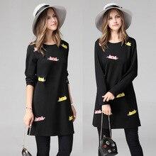 Plus size loose dresses thin long sleeve base cartoon cat pattern dress income woman wholesale dollar price 2017