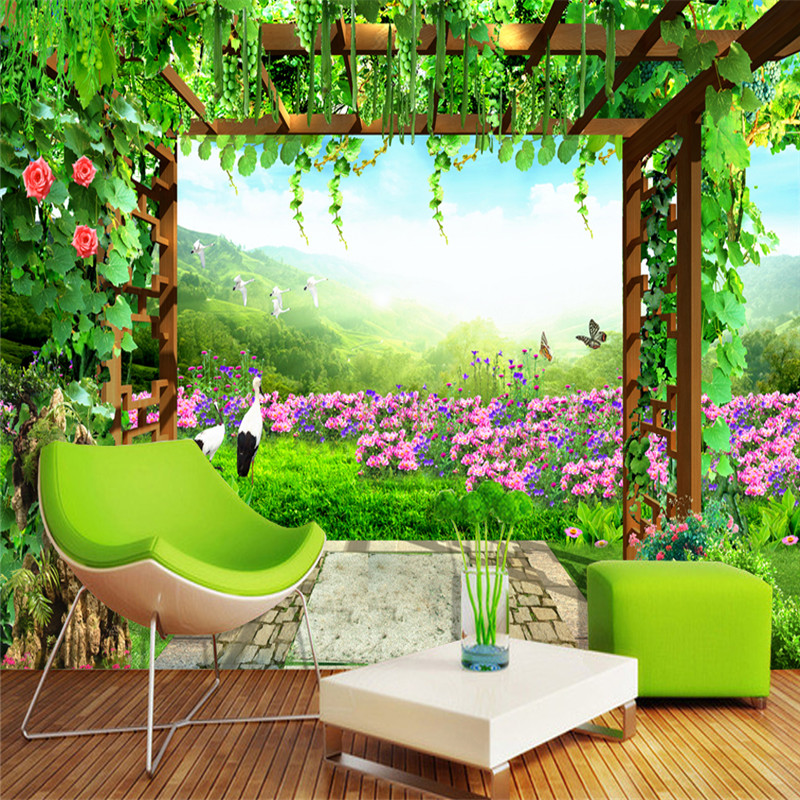 3D Custom Wallpapers Nature Landscape Wall Murals Pastoral Style Flowers Forest Photo for Living Room Sofa Backdrop Home Decor custom 3d murals forests trees rays of light tree nature photo wall living room sofa tv wall bedroom restaurant wallpapers