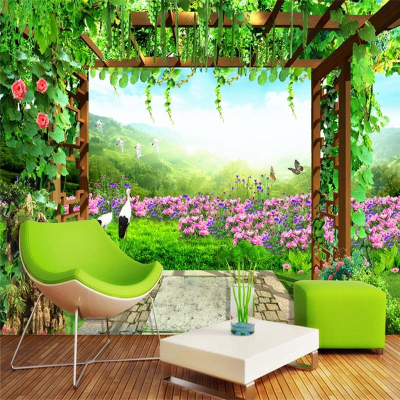 Fleurs roses 3D papier peint Mural pour salon maison décoration Nature paysage papier peint chambre fond peintures murales feuilles