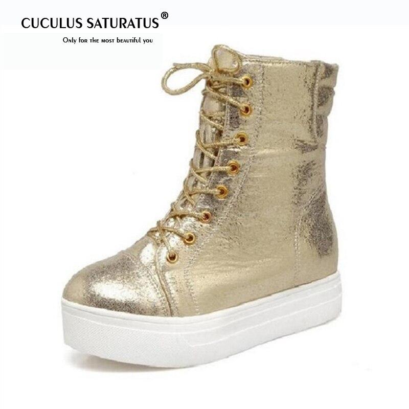 Cuculus fond épais croix sangles rondes Martin bottes chaussures femmes or argent noir et personnalité plate-forme bottes décontracté 1948