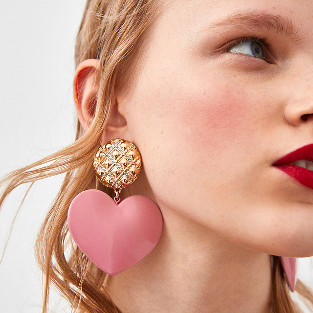 Qiaose New Design Big Heart Charms Dangle Earrings for Women Fashion  Jewelry Boho Maxi Collection Earrings cfcc6edd2d81