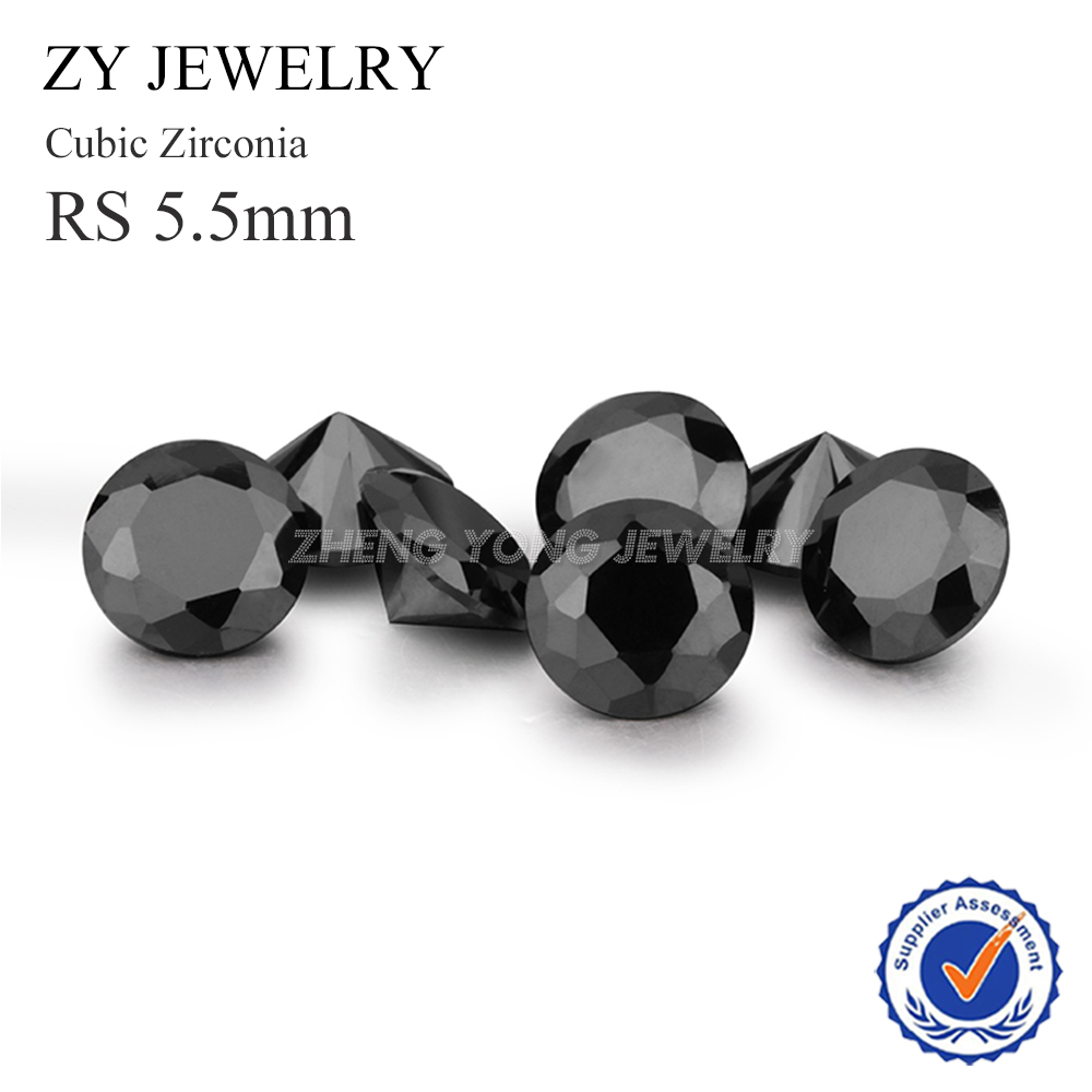 5.5mm Black CZ Stone Round Shape Brilliant Cut Loose Cubic Zirconia Stone