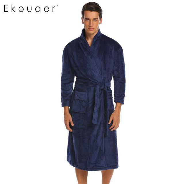 Ekouaer Sleeve Bathrobe Winter Warm 3/4 Men Belted Fleece Kimono Robes with Pockets