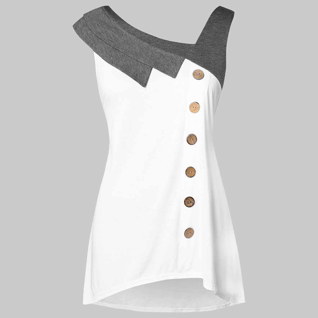 Plus Size Asymmetrical Buttons Skew Neck Tank Top Women Tops Summer Sleeveless Cotton Long Tanks Fashion Lady Pullovers 4.6