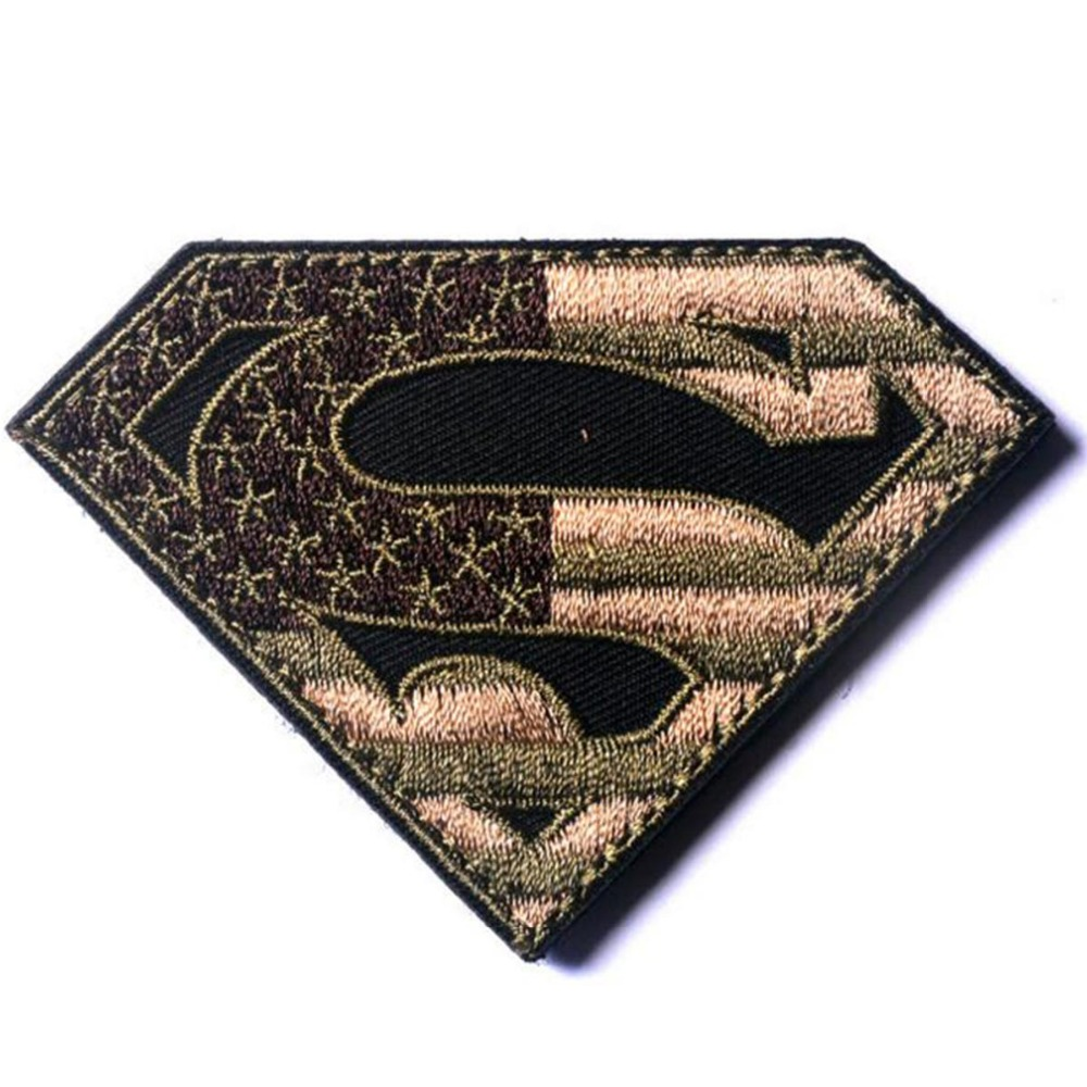 d9db4a94fc08 Superman American Flag USA Army Military Tactical Patch Hook Backing Iron  On SWAT OPS Decorative Applique Subdued Desert Badge-in Patches from Home    Garden ...