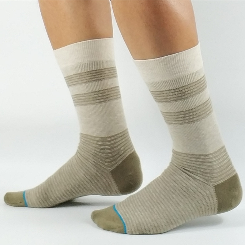 Mens Khaki Strip Dress Socks USA Size M(6-8.5),L( 9-12) ,Euro Size 39-41.5,42-45 (Premium Quality)