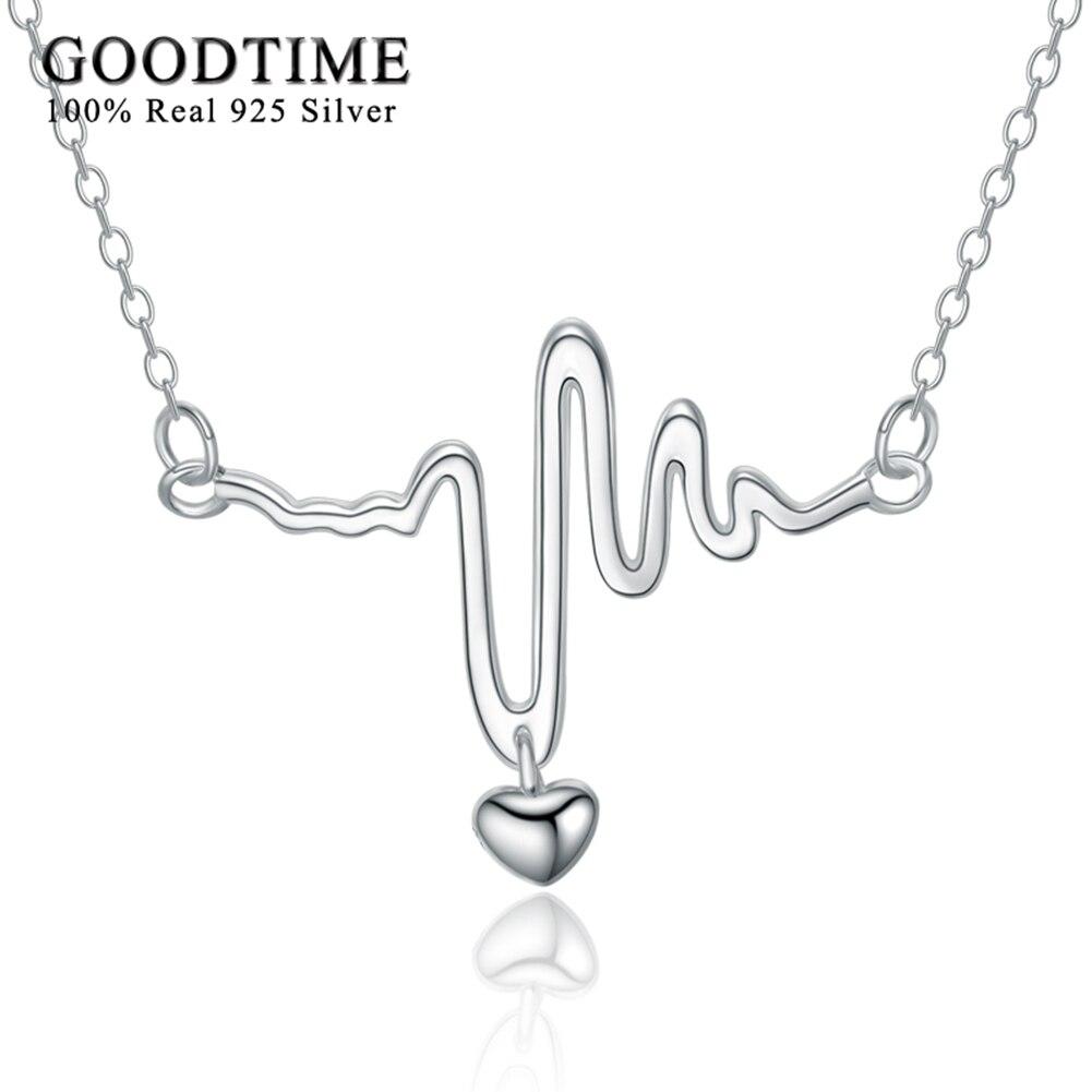 Real 925 Silver Náhrdelník Ženy Sterling Silver Šperky Heartbeat Elektrokardiogram Přívěsky Náhrdelníky Lover Gift Silver 925 joyas