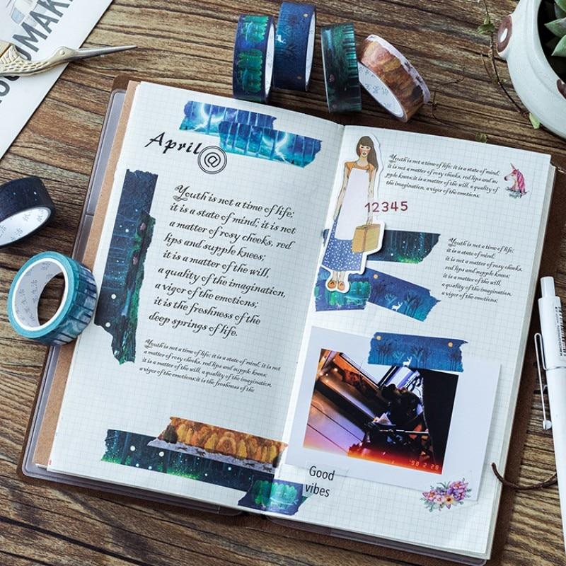 1.5cm X 7 m Mystery serie Beautiful flower Secret forest washi tape children diy decor masking tape stationery scrapbooking tool