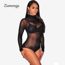 Новое поступление, винтажный женский боди с высоким горлом, сексуальный сетчатый Облегающий комбинезон с длинным рукавом, короткий комбинезон для женщин C2345