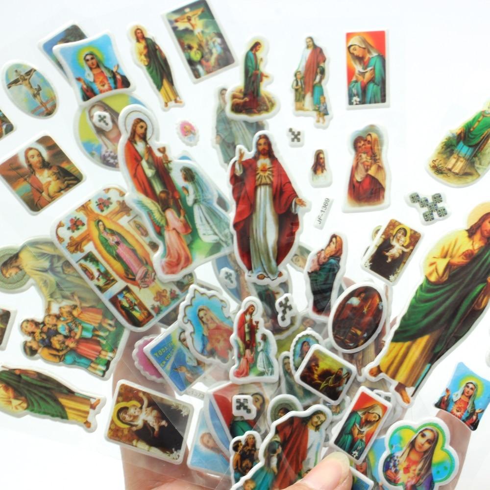 цена на Jesus Stickers 5pcs/lot High Quality Christ the Savior Cartoon 3D Bubble Stickers Classic Kids Toys Gift Jesus' s blessing