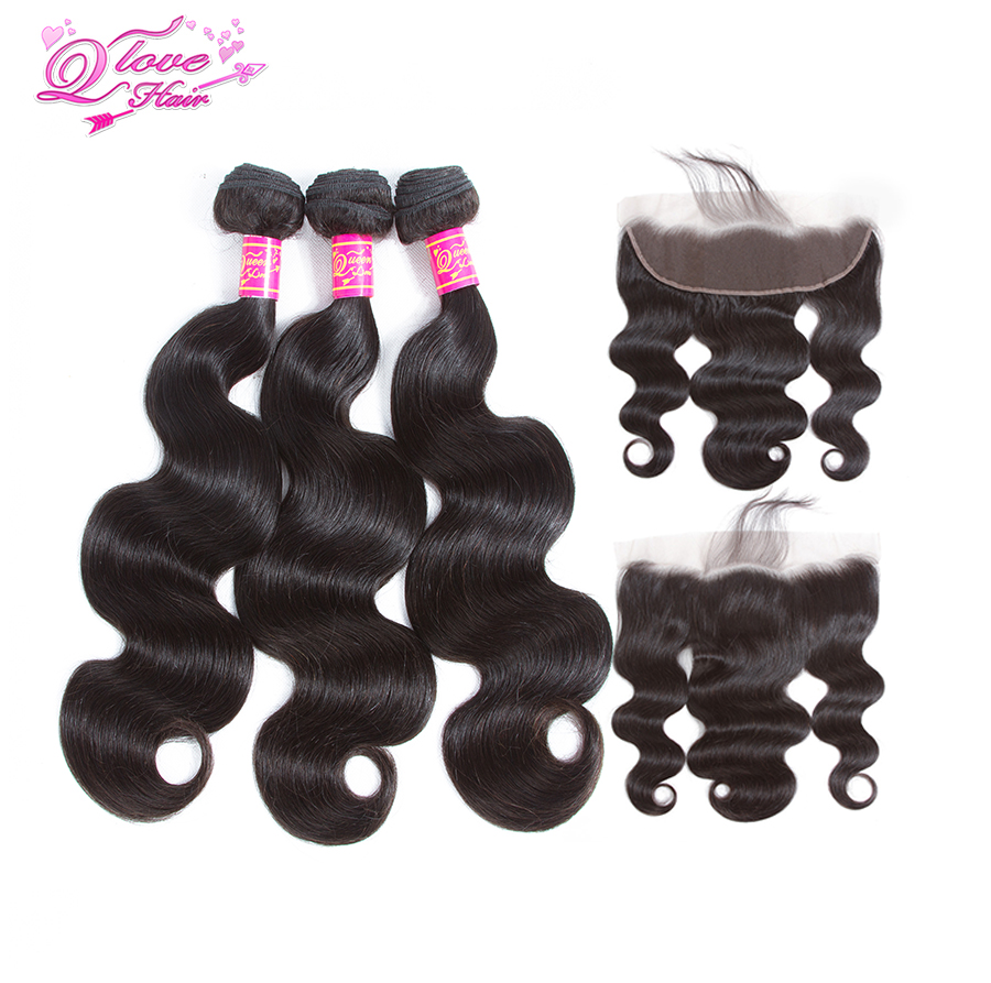 Queen Love Hair Brazilian Body Wave With Closure 3 Bundles Remy Human Hair With 13*4 Lace Frontal Closure Natural Color