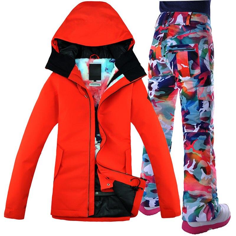 Ветрозащитная дышащая водонепроницаемая куртка для сноубординга + штаны, комплект теплой одежды GSOU, лыжный костюм для женщин, пальто алого ...