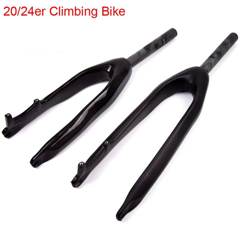 """Chegada nova 20/24 """"polegada Escalada 3K fibra de carbono total da bicicleta da frente garfos Trial Bike freio a disco MTB garfo rígido 20/24er navio Livre"""