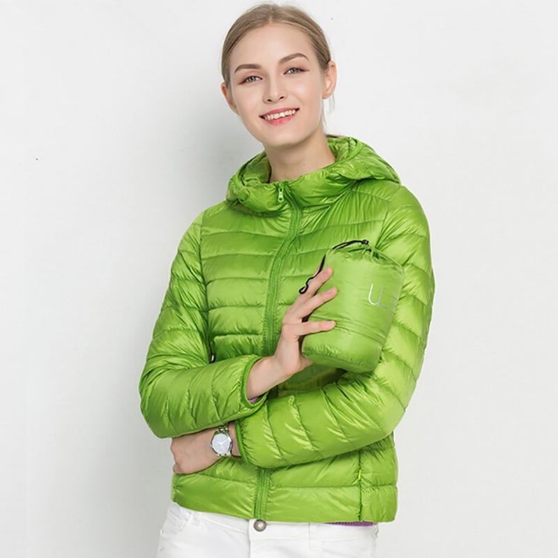 2018 Hooded 90% White Duck Jacket Down Autumn Winter 14 Colors New Warm Slim Plus Size Women Fashion Light Down Coat Brand S-3XL