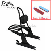 For Harley Dyna FXD FXDC FXDL Motorcycle Black Detachable Luggage Rack Backrest Pad With Red Reflector 2002 2005