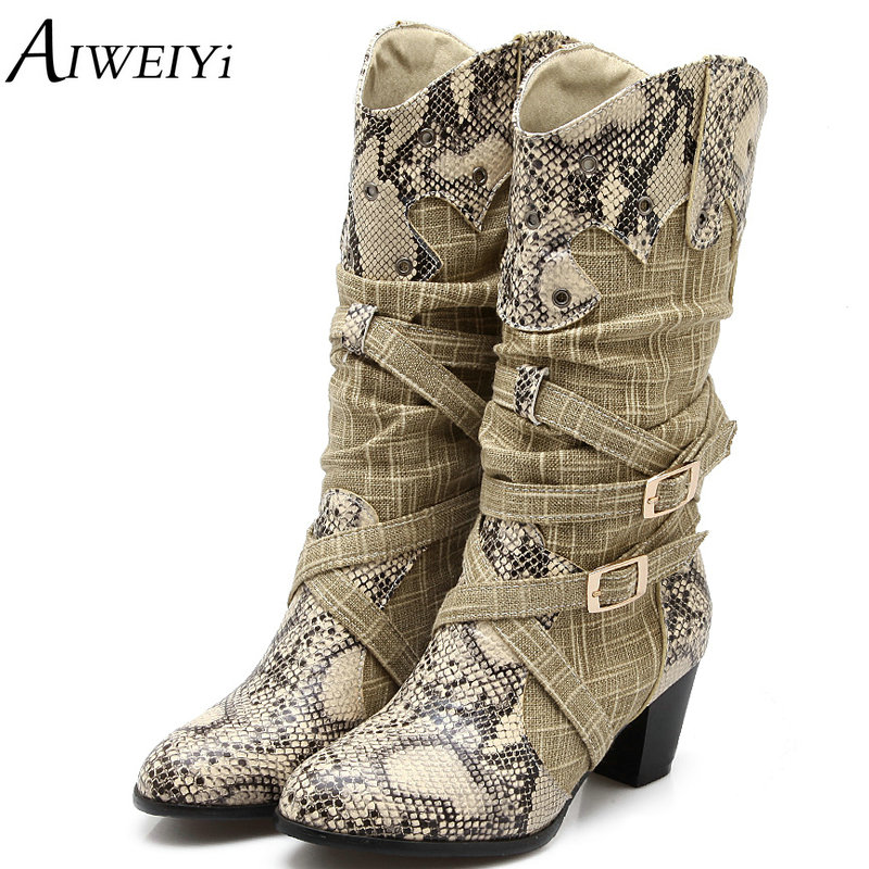AIWEIYi Women's Winter Snow Boots Lady's Western Cowboy Boots Snake Print Mid Calf Snow Boots Shoes Women Botas Mujer Fur Boots trendy snake print and buckles design mid calf shoes for women