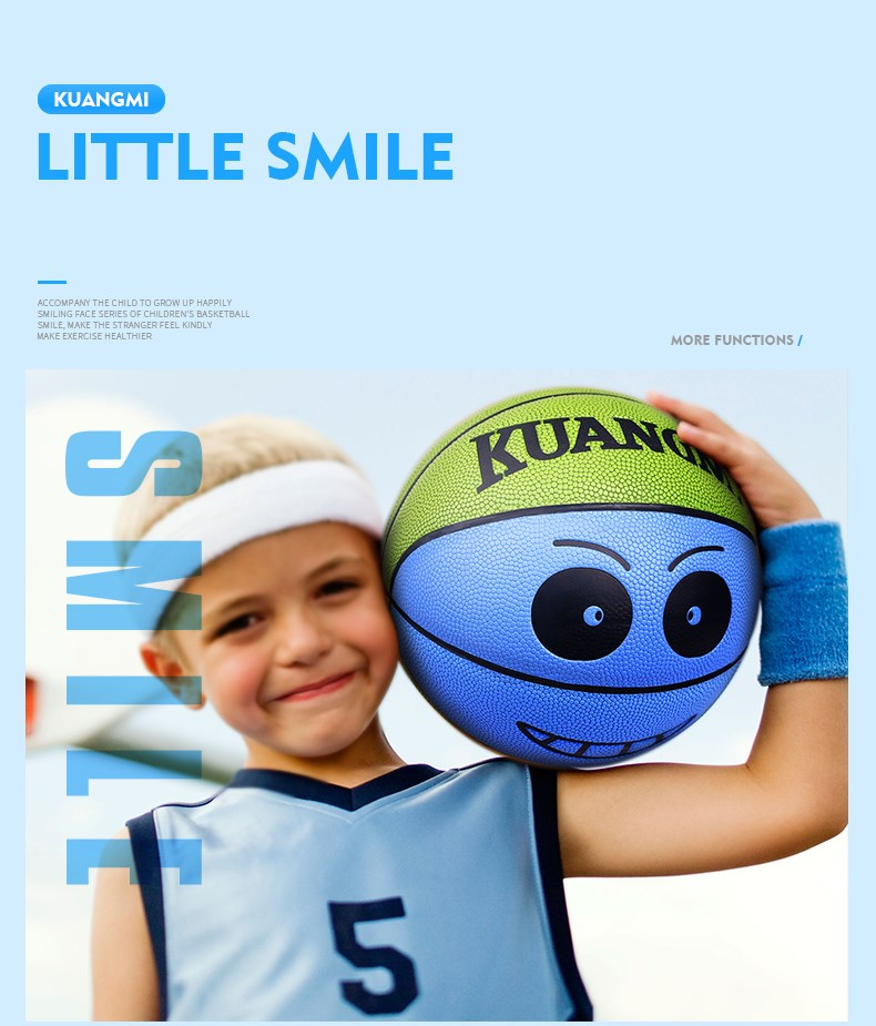 Kuangmi Creative Smiling Face Basketball Children Toy ball Blue Size 3