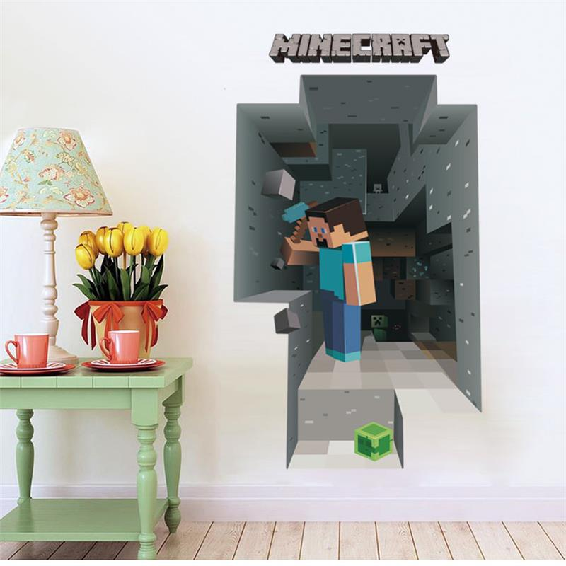 2018 Newest Minecraft Wall Stickers For Kids Rooms 3D Wallpaper Decals Minecraft Steve Home Decor Popular Games Mural Removabled