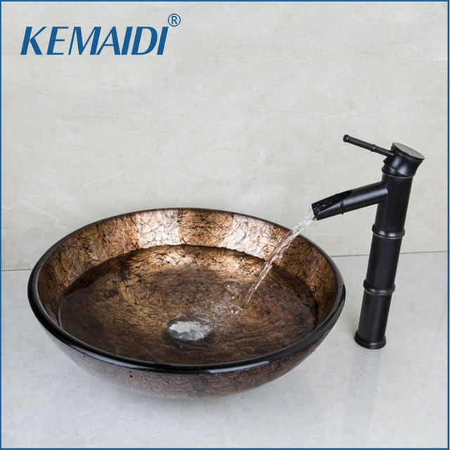 kemaidi modern washbasin round tempered glass vessel sink with oil rubbed bronze faucet glass sink set - Glass Vessel Sinks