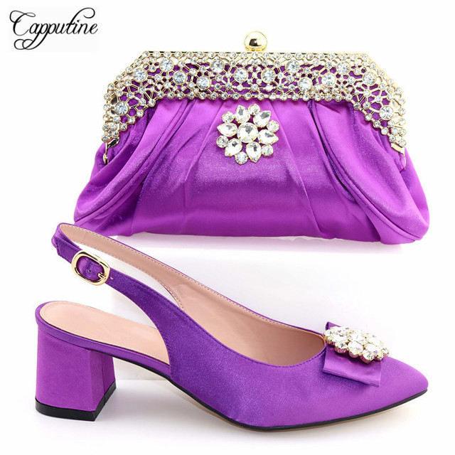 2019 Italian Design Summer Shoes And Matching Bag Set For Party African Rhinestone Women Middle Heels Shoes And Bag Set TX-562