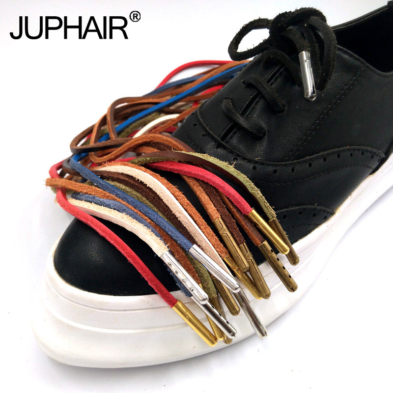 1 Pair Genuine Cowhide Square Shoelaces Boat Doug Shoes Retro Leather Boots Shoestring 10 Color Metal Head